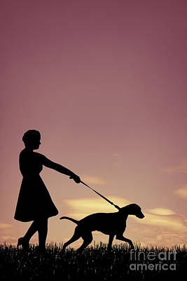 Woman Walking Her Dog Art Print by Amanda Elwell