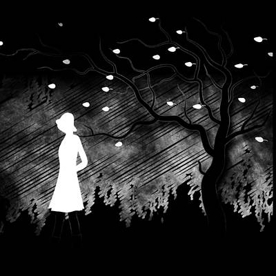 Drawing - Woman Walking In Blustery Fall Scene - Black And White by Serena King