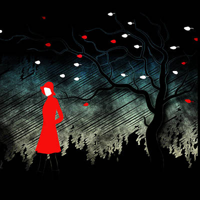 Trench Digital Art - Woman Walking In Blustery Fall Scene by Serena King