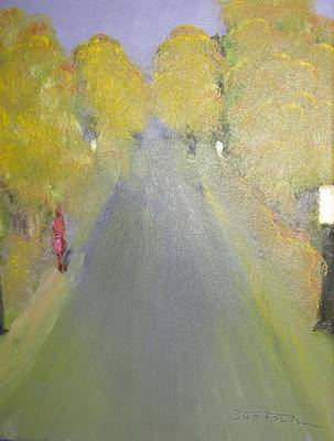 Painting - Woman Walking In Evening by David Bartsch