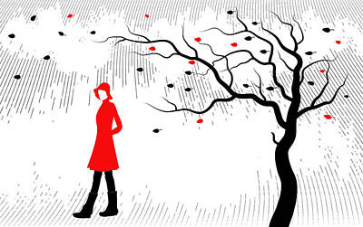 Drawing - Woman Walking In Fall Scene by Serena King