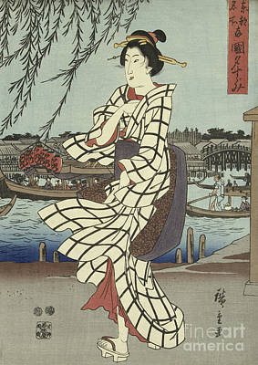 Painting - Woman Walking On A Riverbank, Circa 1848 by Hiroshige
