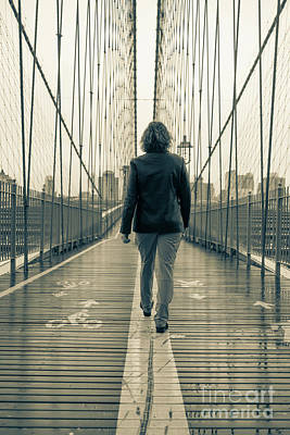 Woman Walking On The Brooklyn Bridge Art Print
