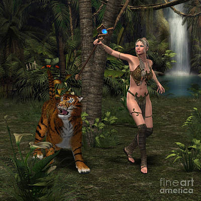 Soap Suds - Woman Warrior with Tiger by Corey Ford