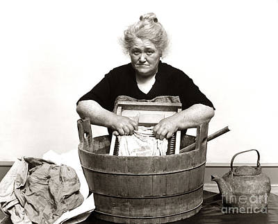 Washboard Wall Art - Photograph - Woman Washing Clothes, C. 1930s by H. Armstrong Roberts/ClassicStock