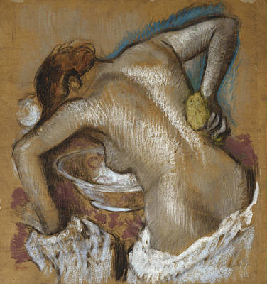 Woman Washing Her Back With A Sponge Art Print