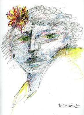 Painterly Drawing - Woman Watching by Barbara Jacobs