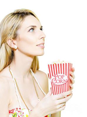 Woman Watching Movie At Cinema Art Print