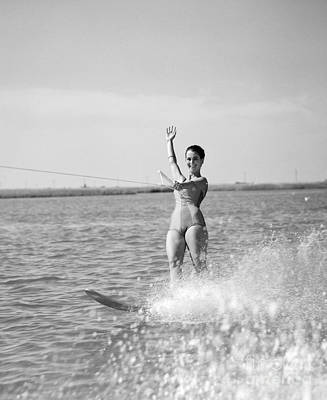 Photograph - Woman Water Skiing by H. Armstrong Roberts/ClassicStock