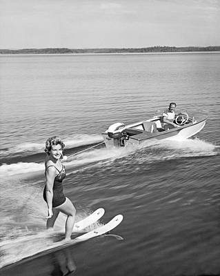 Woman Water Skiing Art Print by Underwood Archives