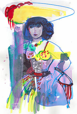 Painting - Woman Wearing 50's Party Dress by Amara Dacer