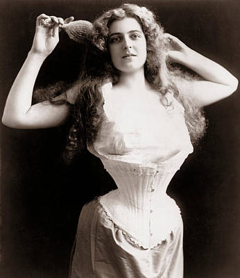 Woman Underwear Photograph - Woman Wearing Corset by Unknown