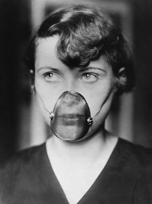 Inhale Photograph - Woman Wearing Inhalation Mask by Underwood Archives