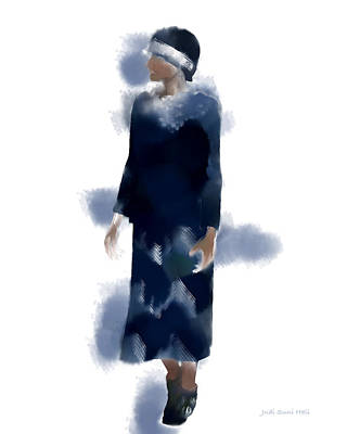 Digital Art - Woman Wearing Navy Blue by Judi Suni Hall