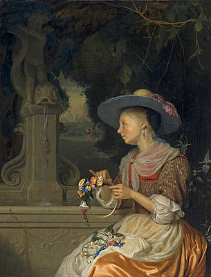 Woman Weaving A Crown Of Flowers Art Print by Godefridus Schalcken