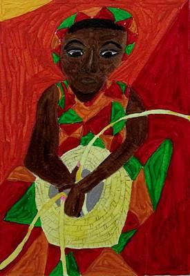 Painting - Woman Weaving Basket by Joan Dance