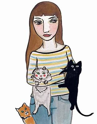 Woman With Black Hair Painting - Woman With 3 Cats  by Holly Coley