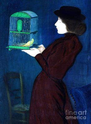 Parakeet Wall Art - Painting - Woman With A Bird Cage  Detail by Jozsef Rippl-Ronai