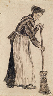 Woman With A Broom, 1882 01 Art Print by Vincent Van Gogh