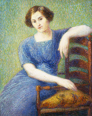 Woman With A Chair Art Print by Hippolyte Petitjean
