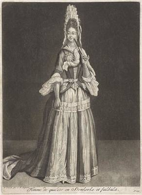 Ceramics Painting - Woman With A Fan And Stein Kerke Tie, Peter Schenk I, After Jean De Saint-jean, 1694 by Celestial Images