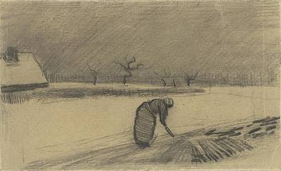 Woman Painting - Woman With A Fork In A Winter Landscape Nuenen by Celestial Images