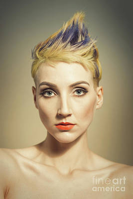 Edgy Photograph - Woman With A Funky Hairstyle by Amanda Elwell