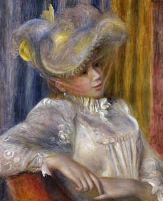 Top With Oil Painting - Woman With A Hat 1891 by Pierre Auguste Renoir