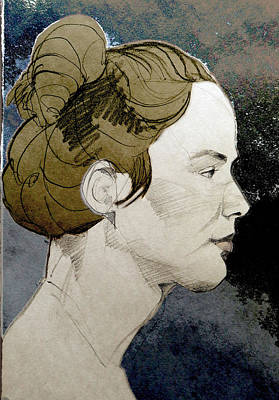 Painting - Portrait Of A Young Woman With A Loose Bun. by Greta Corens