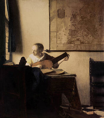 Woman Playing A Lute Painting - Woman With A Lute by Jan Vermeer