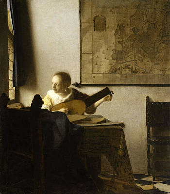 Woman Playing A Lute Painting - Woman With A Lute Near A Window by Johannes Vermeer