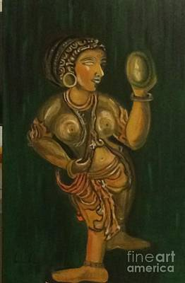Painting - Woman With A Mirror Sculpture by Brindha Naveen