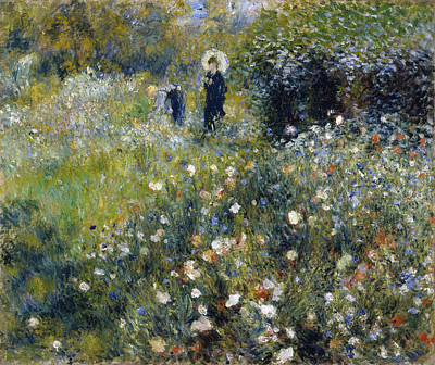 Top With Oil Painting - Woman With A Parasol In A Garden 1875 by Pierre Auguste Renoir