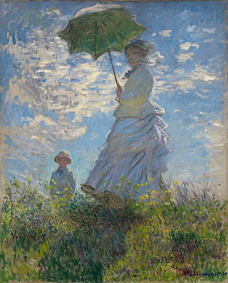 Retro Portret Painting - Woman With A Parasol - Madame Monet And Her Son 1875 by Claude Monet