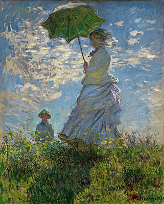 Oil Painting - Woman With A Parasol, Madame Monet And Her Son, Claude Monet Digitally Enhanced by digitally enhanced by Thomas Pollart