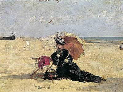 Woman With A Parasol On The Beach Art Print
