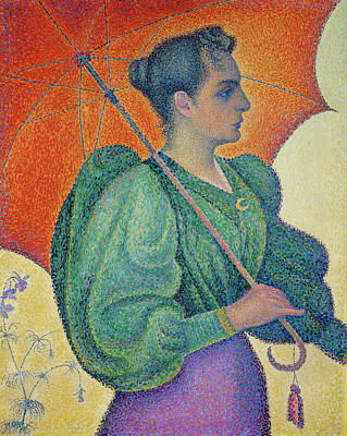 Woman Portrait Painting - Woman With A Parasol by Paul Signac