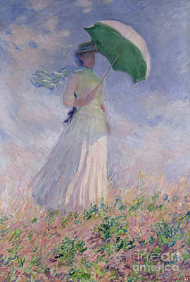 Sunshade Painting - Woman With A Parasol Turned To The Right by Claude Monet