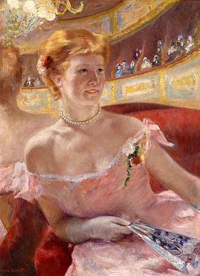Woman With A Pearl Necklace In A Loge Art Print by Mary Cassatt