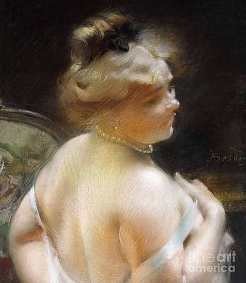 Collier Pastel - Woman With A Pearl Necklace by Paul Albert Besnard