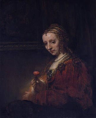 Pink Painting - Woman With A Pink Flower by Rembrandt