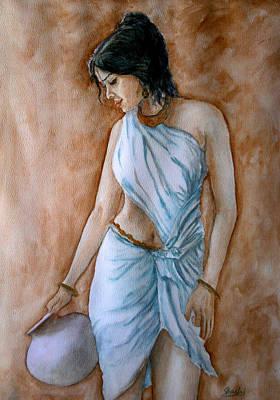 Sarees Painting - Woman With A Pot by Shashikanta Parida