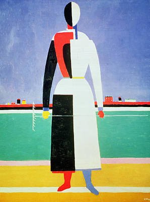 Woman With A Rake Art Print by Kazimir Severinovich Malevich
