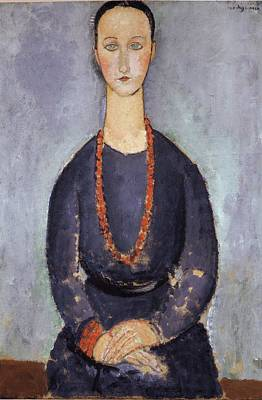 Painting - Woman With A Red Necklace by Amedeo Modigliani