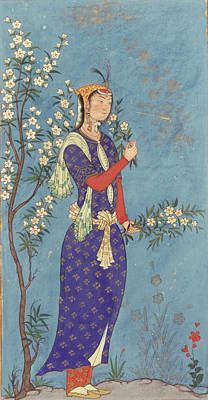 Safavid Painting - Woman With A Spray Of Flowers by MotionAge Designs