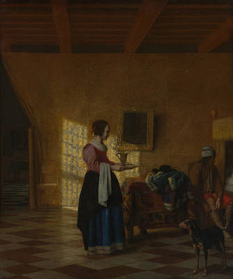 Painting - Woman With A Water Pitcher, And A Man By A Bed by Pieter de Hooch