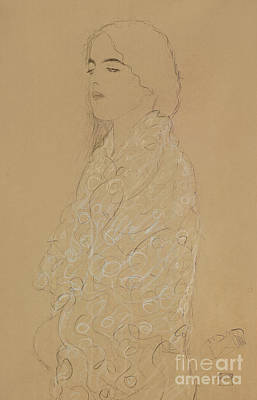 Drawing - Woman With A White Shawl  by Gustav Klimt