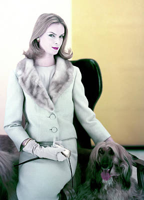 Photograph - Woman With Afghan Dog by Henry Clarke
