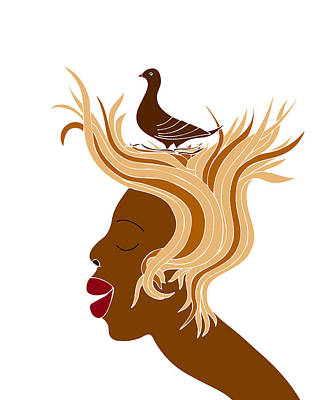 Graphic Drawing - Woman With Bird by Frank Tschakert