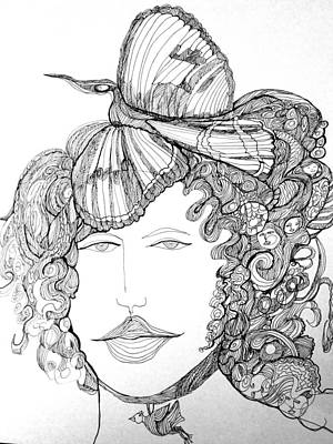 Wall Art - Drawing - Woman With Bird by Rosalinde Reece